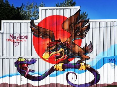Mural Eagle butte mni wiconi